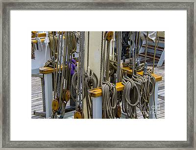 Tall Ship Lines And Blocks Framed Print by Dale Powell