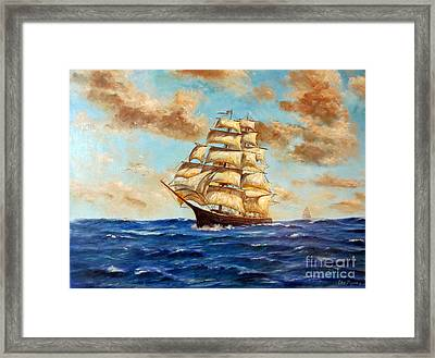 Tall Ship On The South Sea Framed Print by Lee Piper