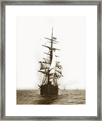 Framed Print featuring the photograph Tall Ship Sailing Out Of San Francisco California Circa 1900 by California Views Mr Pat Hathaway Archives