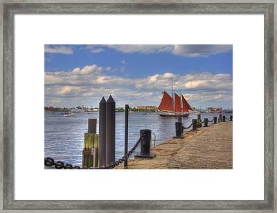 Tall Ship The Roseway In Boston Harbor Framed Print by Joann Vitali
