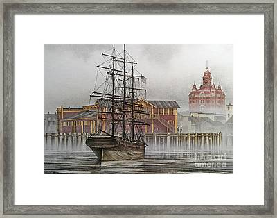 Tall Ship Waterfront Framed Print by James Williamson