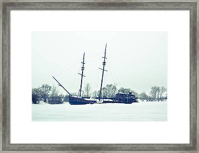 Tall Shipp At Jordan Marina Framed Print by Nick Mares