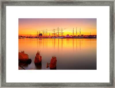 Tall Ships At Bay Framed Print