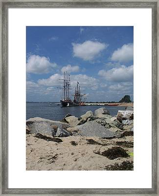 Tall Ships In The Distance Framed Print by Rosanne Bartlett