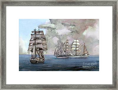 Tall Ships Off Newport Framed Print by Steve Hamlin