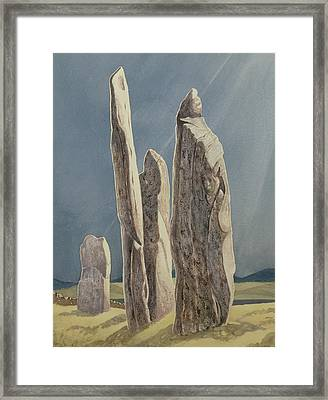 Tall Stones Of Callanish Isle Of Lewis Framed Print by Evangeline Dickson