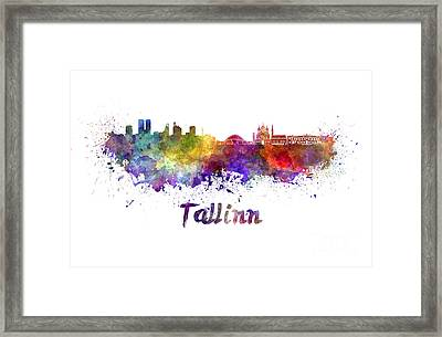 Tallinn Skyline In Watercolor Framed Print