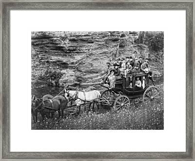 Tallyho Stagecoach Party C. 1889 Framed Print