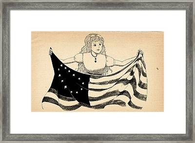 Framed Print featuring the drawing Tammy And The Flag by Reynold Jay