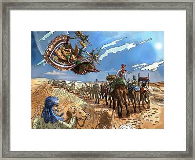 Framed Print featuring the painting Tammy And The Flying Carpet by Reynold Jay