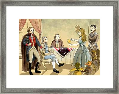 Framed Print featuring the painting Tammy Meets Betsy Ross And George Washington by Reynold Jay
