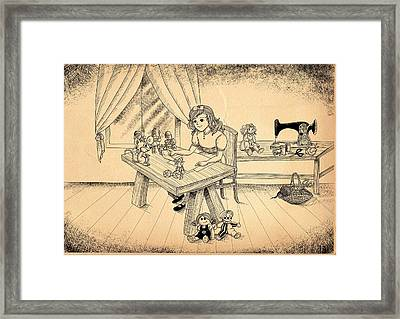 Framed Print featuring the drawing Tammy Meets Alfred The Mouse by Reynold Jay