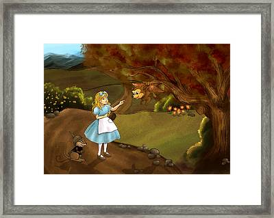 Framed Print featuring the painting Tammy Meets Zeke The Opossum by Reynold Jay
