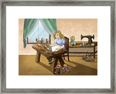 Framed Print featuring the painting Tammy The Little Doll Girl  by Reynold Jay