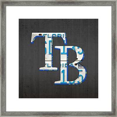 Tampa Bay Devil Rays Baseball Team Vintage Logo Recycled Florida License Plate Art Framed Print