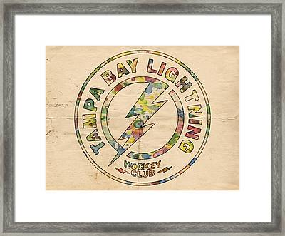 Tampa Bay Lightning Logo Art Framed Print by Florian Rodarte
