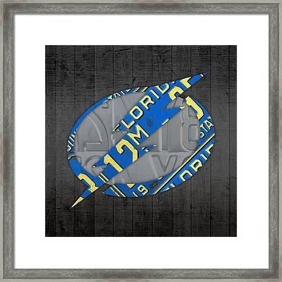 Tampa Bay Lightning Retro Hockey Team Logo Recycled Florida License Plate Art Framed Print