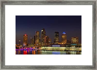 Tampa Lights At Dusk Framed Print