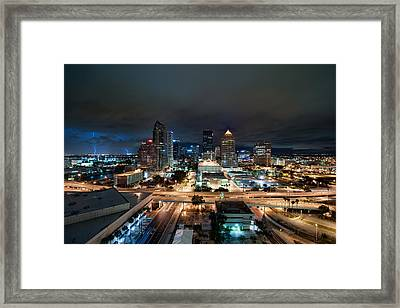 Tampa Skyline With Lightning Framed Print