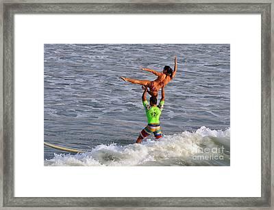 Tandem Surfing Framed Print