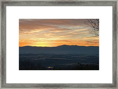 Tangerine Blue Ridge Skies Framed Print by Lara Ellis