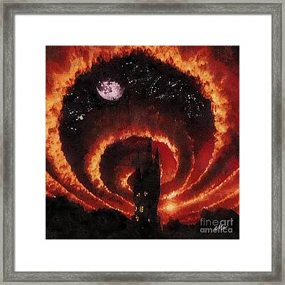 Tangerine Circle Framed Print by Mo T