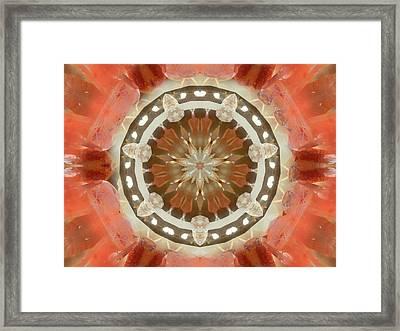 Tangerine Lemurian Seed Crystal Mandala Framed Print