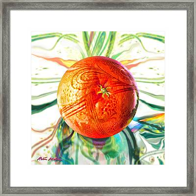 Framed Print featuring the painting Tangerine Orb Nouveau by Robin Moline