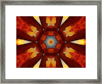 Tangerine Sunset Crystal Mandala Framed Print