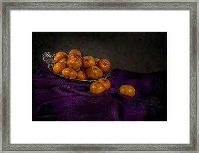 Tangerines In A Shell Platter Framed Print by Leah McDaniel
