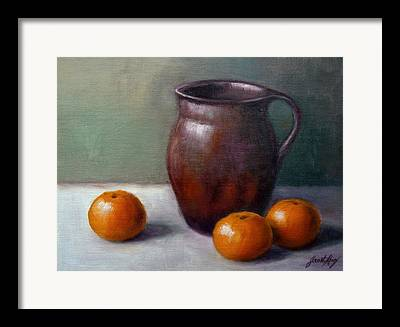 Still Life With Old Pottery Pitcher And Tangerines Framed Prints