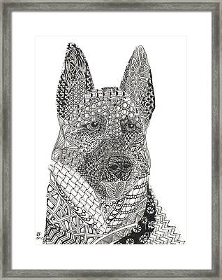 Tangled German Shepherd Framed Print