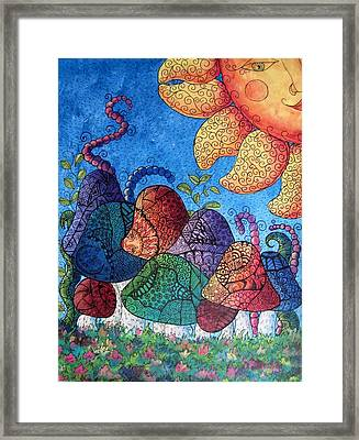 Tangled Mushrooms Framed Print