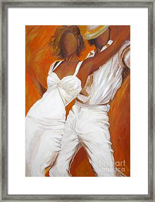 Framed Print featuring the painting Tango Blanco by Sheri  Chakamian