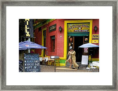 Tango Dancing In La Boca Framed Print by David Smith