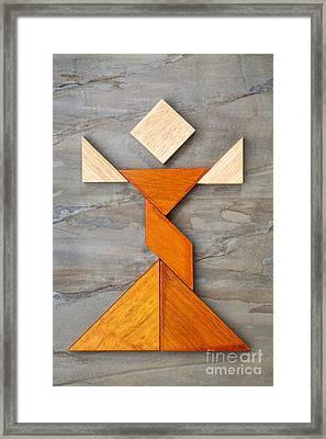 Tangram Dancer Figure Framed Print