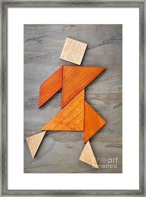 Tangram Dancing Figure Framed Print