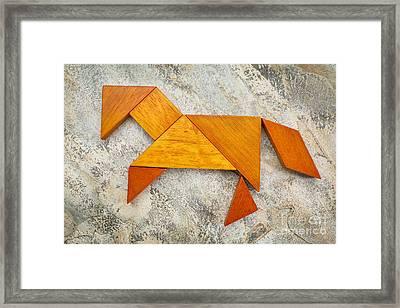 Tangram Horse Abstract Framed Print