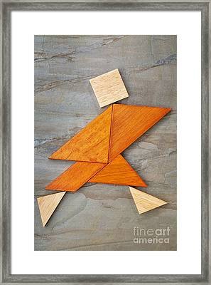 Tangram Running Figure Framed Print