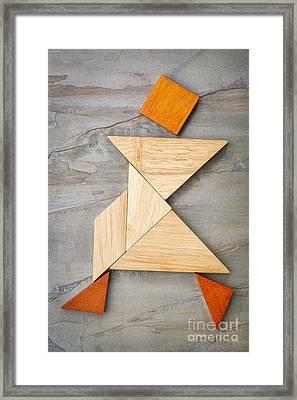 Tangram Walking Figure Framed Print
