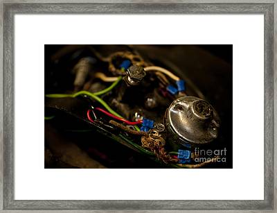 Tank Mounted Instrument Panel 1948 Harley Framed Print by Wilma  Birdwell