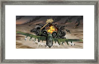 Tank Plinking With The A-10 Framed Print by Barry Munden
