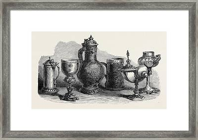 Tankards Goblets And Cups Art Loan Collection South Framed Print by English School