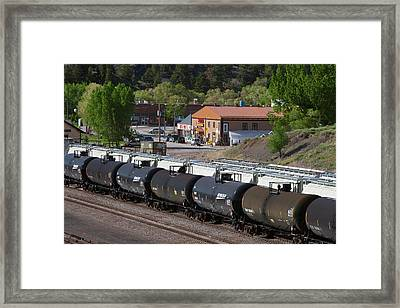 Tanker Cars At Rail Yard Framed Print by Jim West
