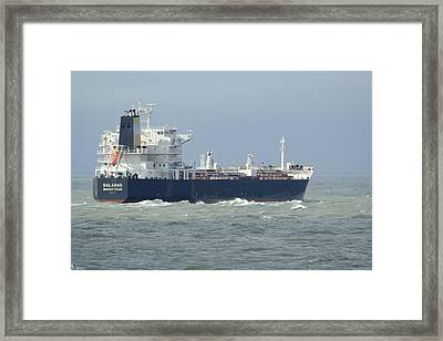 Tanker Heading At Sea Framed Print