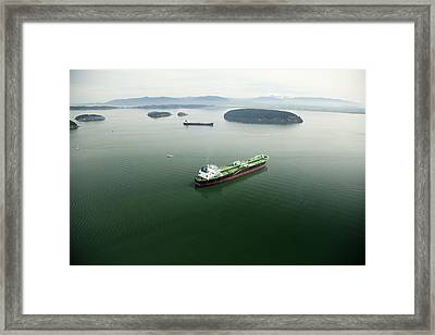 Tanker Ships At Anchor Offshore Of The Framed Print by Andrew Buchanan/SLP