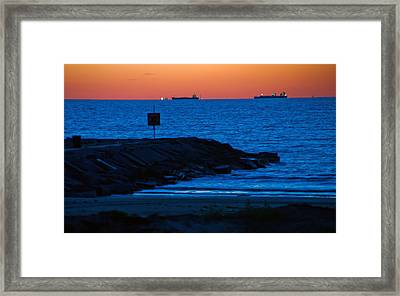 Tanker Sunrise Framed Print