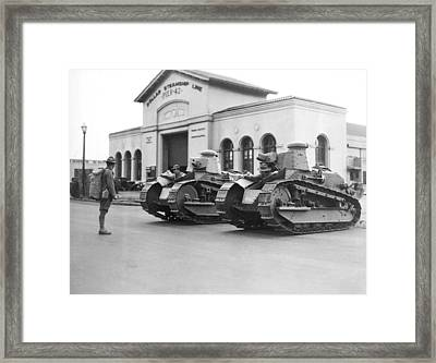 Tanks For Waterfront Strike Framed Print by Underwood Archives