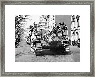 Tanks On Fifth Avenue Framed Print by Underwood Archives