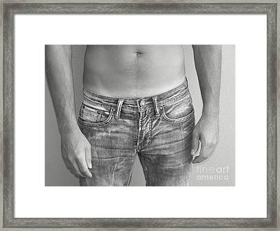 Tanline In Jeans Black And White Framed Print by Gary F